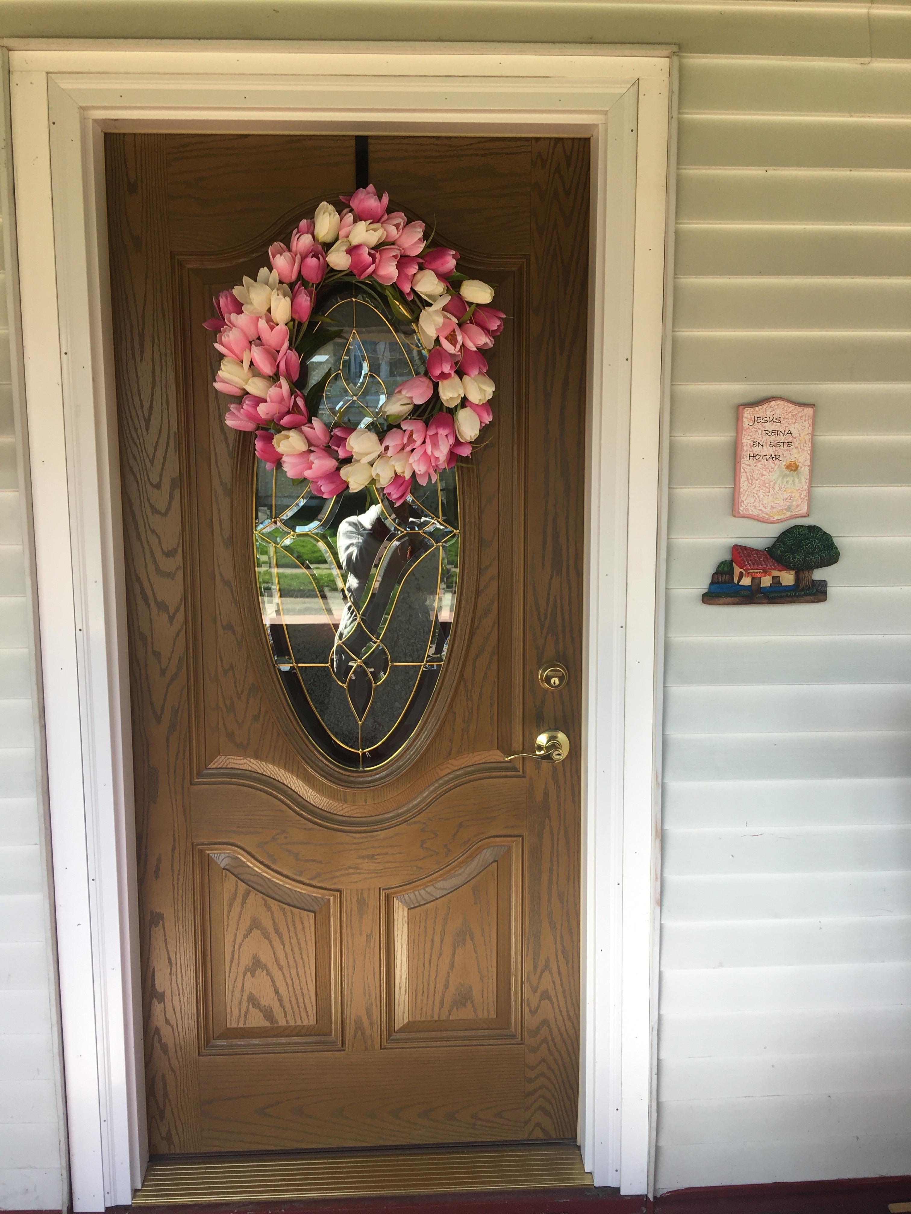 Front door with spring wreath