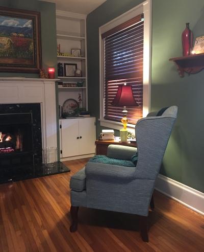 Sitting still--high back chair